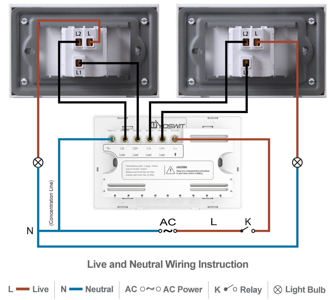 Smart 3 Way Switch Socket 118 2 Gang Home Wiring A Three With Switches Option Connect Yoswit Two Common Wire Neutral
