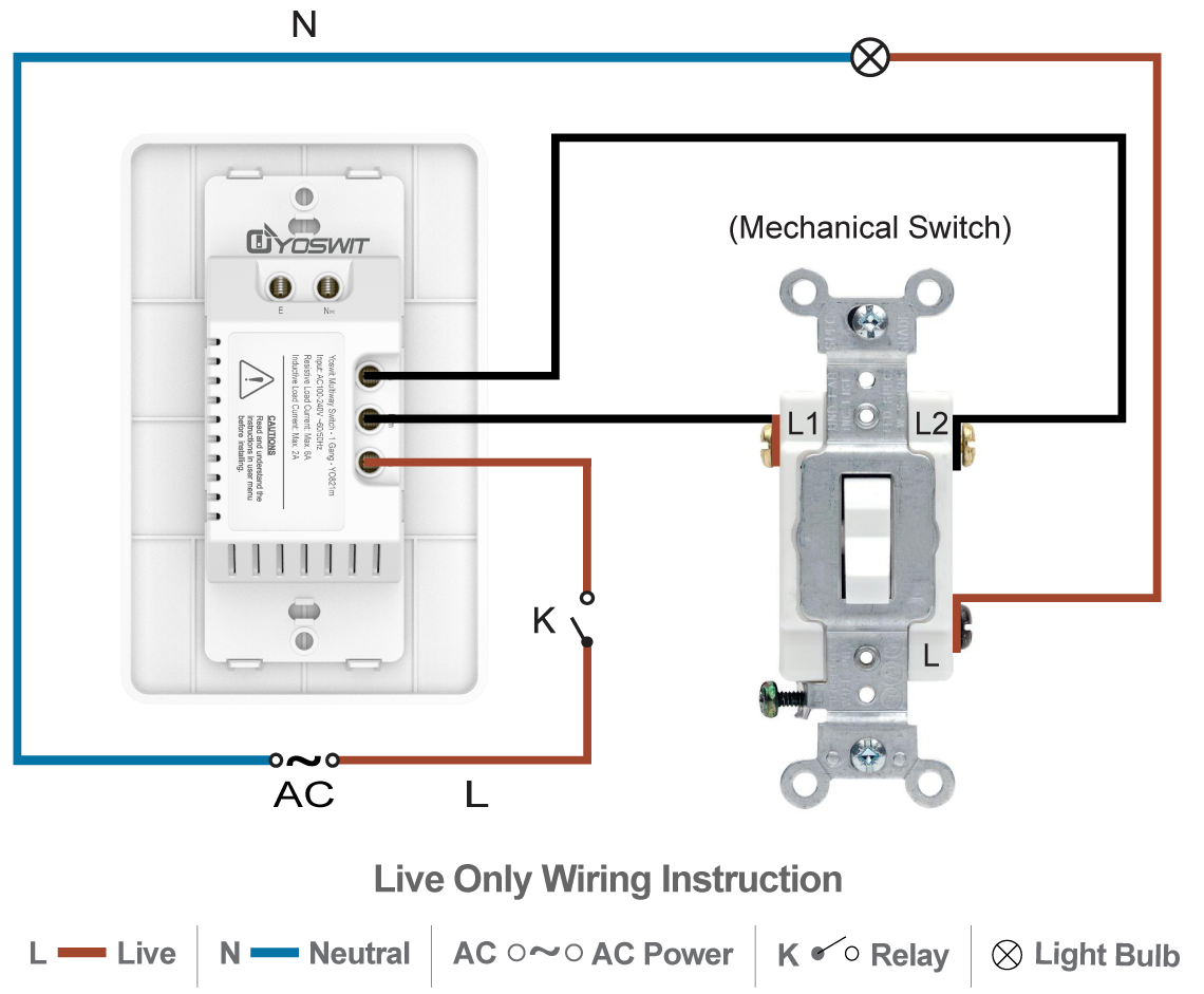 Smart 3 Way Switch Socket 120 1 Gang Home Wiring A Plug Live Neutral Option Connect Yoswit With Common 2 Wire Without