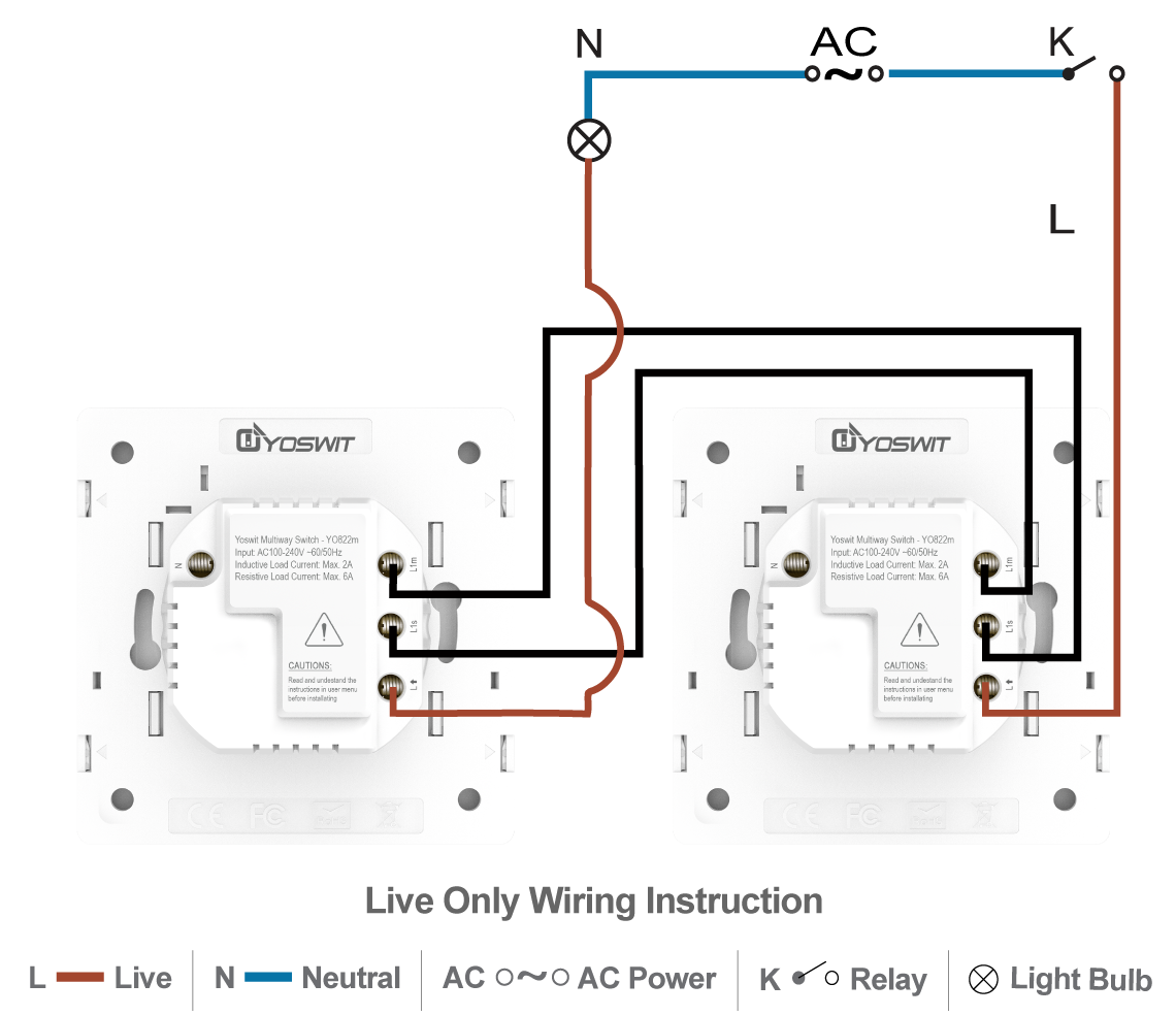 Smart 3 Way Switch Socket 55 1 Gang Home Wiring Diagram 2wire Option Connect Two Yoswit Switches 2 Wire Without Neutral