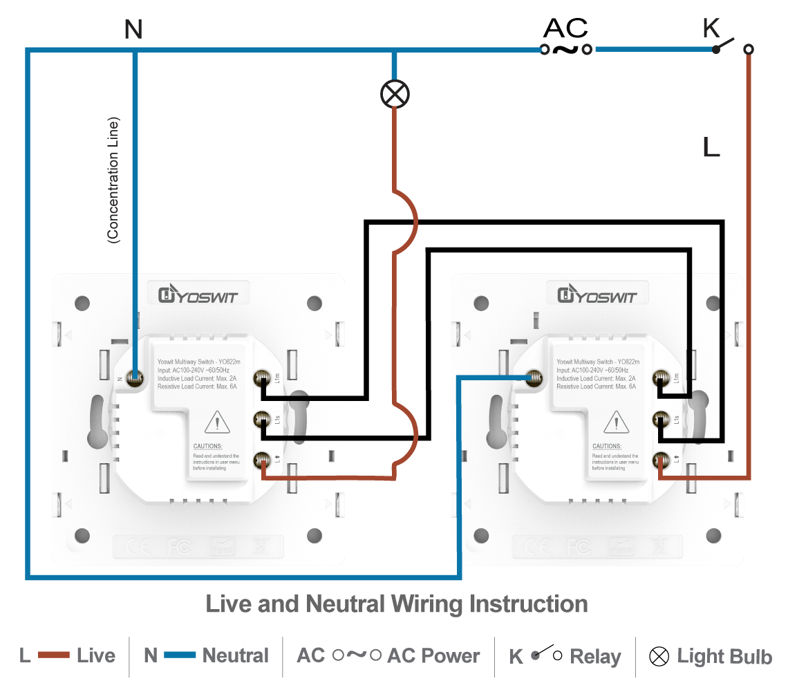 Smart 3 Way Switch Socket 55 1 Gang Home Line Load Option 4 Connect Two Yoswit Switches Wire With Neutral