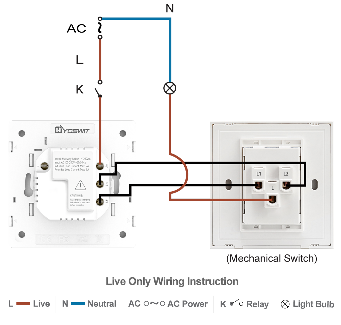 Smart 3 Way Switch Socket 55 1 Gang Home Wiring Three Option Connect Yoswit With Common 2 Wire Without Neutral