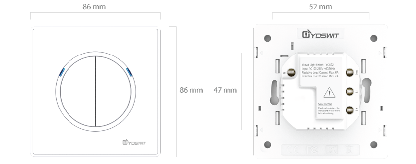 smart light switch - socket 55 - 2 gang - smart home